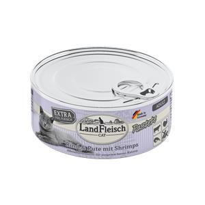 6x 100 g - Landfleisch Cat Adult Pastete Rind, Pute & Shrimps