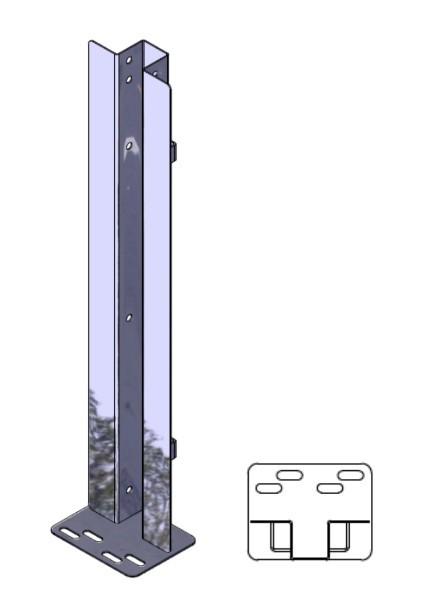 Mittelpfosten U-Profil 0,60m hoch