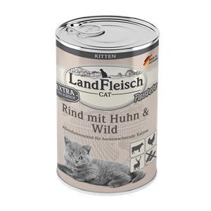 6 x 400 g - Landfleisch Cat Kitten Pastete Rind, Huhn & Wild