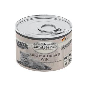 6 x 195 g - Landfleisch Cat Kitten Pastete Rind, Huhn & Wild