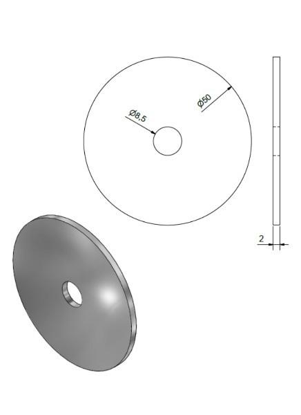 Gegenplatte-Unterlegscheibe 50mm Edelstahl