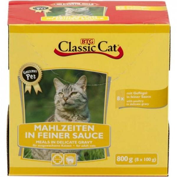 8 x 100 g - Classic Cat Mahlzeit in feiner Sauce mit Geflügel, Pouchbeutel