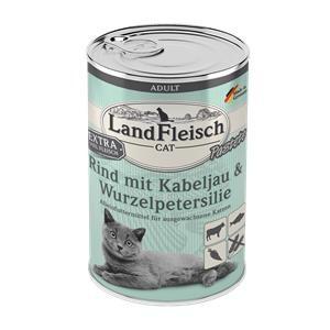 6 x 400 g - Landfleisch Cat Adult Pastete Rind, Kabeljau, Wurzelpetersilie -