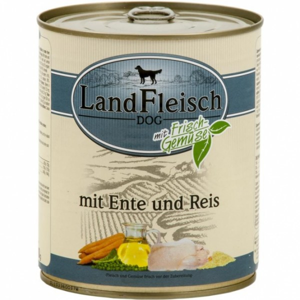 6 x 800 g - Landfleisch Pur Ente & Reis mit Frischgemüse