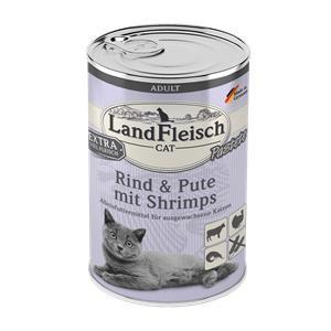 6 x 400 g - Landfleisch Cat Adult Pastete Rind, Pute & Shrimps