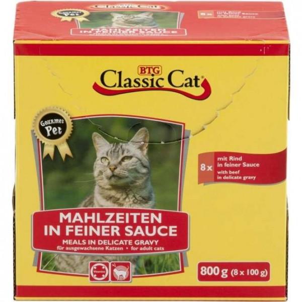 8 x 100 g - Classic Cat Mahlzeit in feiner Sauce mit Rind, Pouchbeutel