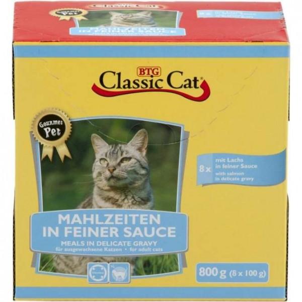 8 x 100 g - Classic Cat Mahlzeit in feiner Sauce mit Lachs & Forelle, Pouchbeutel